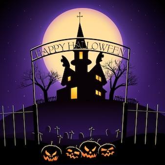 Happy halloween design z latarniami cmentarza jack i nawiedzonego domu na tle ogromnego księżyca