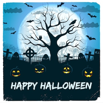 Happy halloween design z latarniami i cmentarzem z ogromnym świecącym księżycem i drzewem