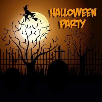 Happy halloween design z sylwetką cmentarza i latającą czarownicą