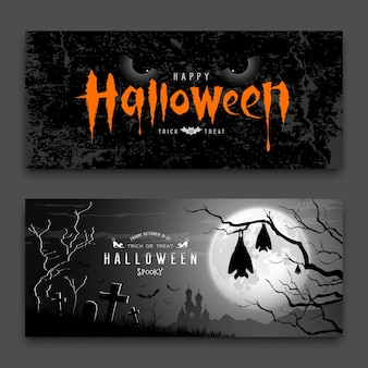Happy halloween diabelskie oczy i śpiący nietoperz w drzewie na tle księżycowej nocy kolekcje vector