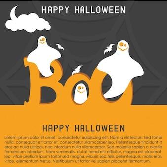 Happy halloween duch szablonu karty boo