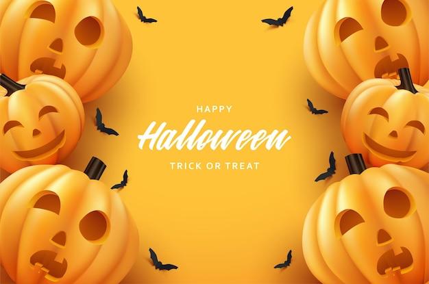 Happy halloween dynia i nietoperz na pomarańczowym tle