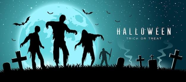 Happy halloween dynia i zombie banery poziomy wzór tła