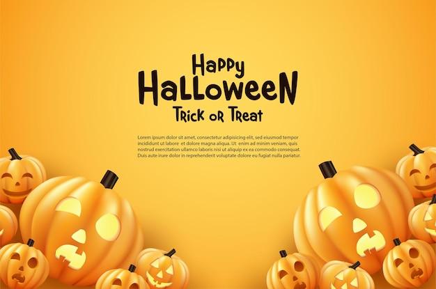 Happy halloween dynia na pomarańczowym tle