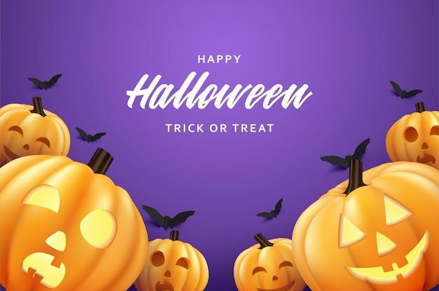 Happy halloween dynia z nietoperzami latającymi na jasnofioletowym tle