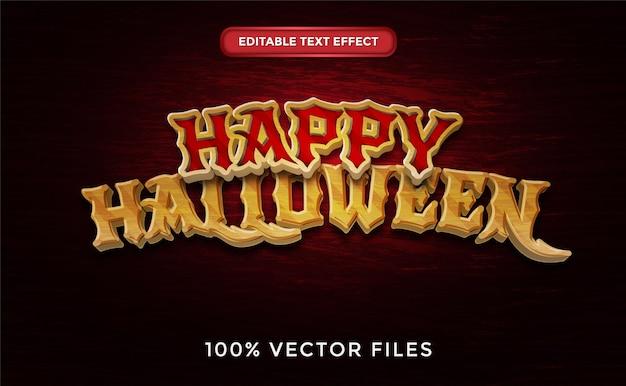 Happy halloween efekt tekstowy premium wektorów