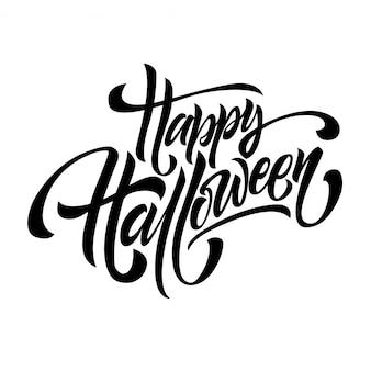 Happy halloween gratulacje, zaproszenie pisma literowanie na białym tle