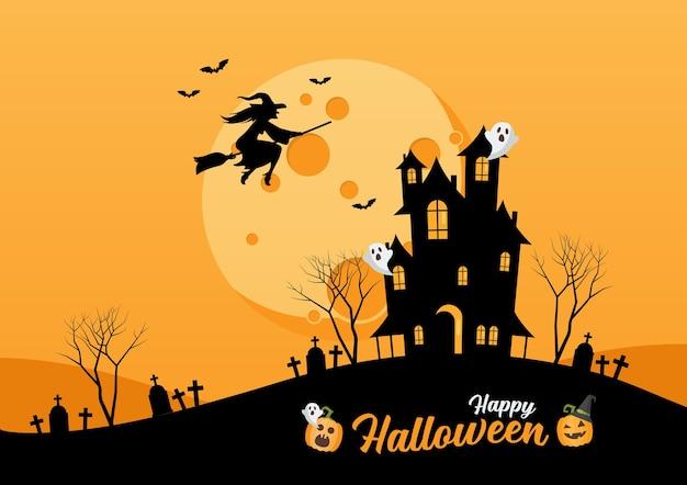 Happy halloween haunted house. czarownica leci nad ilustracją księżyca