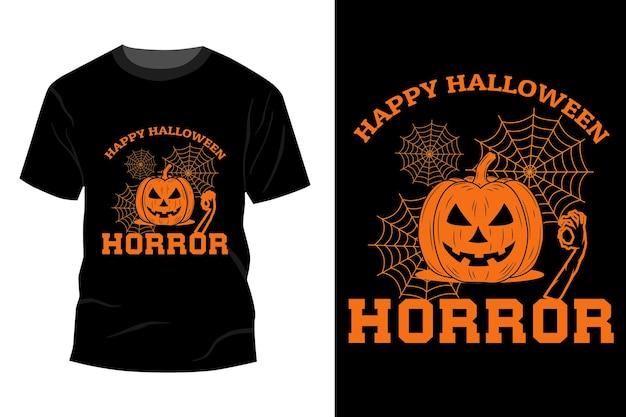 Happy halloween horror t-shirt makieta projekt vintage retro