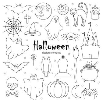 Happy halloween ikona w stylu bazgroły. ilustracja wektorowa.