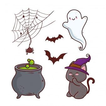 Happy halloween ikony zestaw dekoracji wektor ilustracja projekt