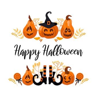 Happy halloween jasny wektor ilustracja. dyniowa latarnia, kapelusz wiedźmy, pasiaste pończochy, lizak. do naklejek, pocztówek, banerów, ulotek. żółto-pomarańczowe kolory jesieni.