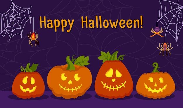 Happy halloween karta twarz dyni pajęczyna i pająk kreskówka świeci wewnątrz przestraszonych i uśmiechniętych twarzy