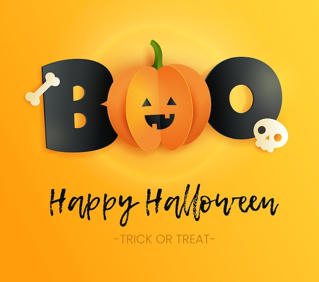Happy halloween karta z napisem boo, czaszką, kością i dynią w stylu cięcia papieru. śmieszna papierowa dynia z czarnymi literami na żółtym tle.