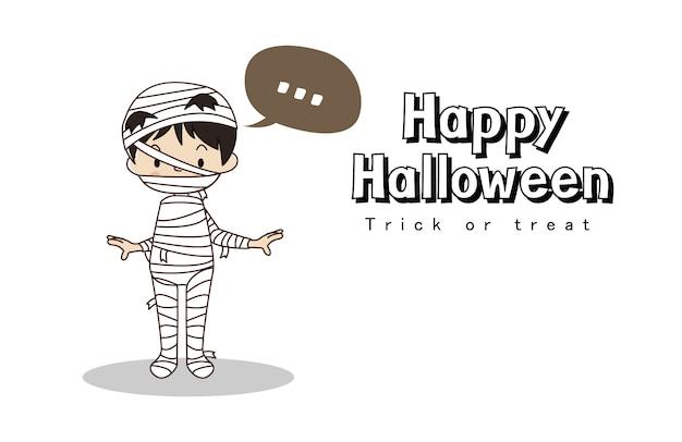 Happy halloween kartkę z życzeniami. cukierek albo psikus. ładny chłopczyk w stroju mumii.