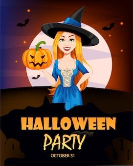 Happy halloween kartkę z życzeniami. mała uśmiechnięta czarownica