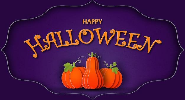 Happy halloween kartkę z życzeniami w stylu cięcia papieru dynie na fioletowym tle z teksturą