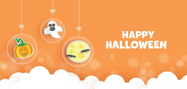 Happy halloween kartkę z życzeniami w stylu cięcia papieru z cute dyni i ducha.