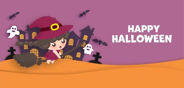 Happy halloween kartkę z życzeniami w stylu cięcia papieru z uroczą dyni czarownicy i ducha.