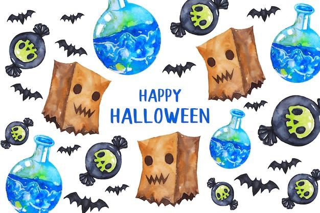 Happy halloween kartkę z życzeniami w stylu przypominającym akwarele