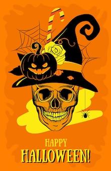Happy halloween kartkę z życzeniami z czaszką, dynią, różą, pająkiem, kapeluszem, cukierkami. ilustracja wektorowa