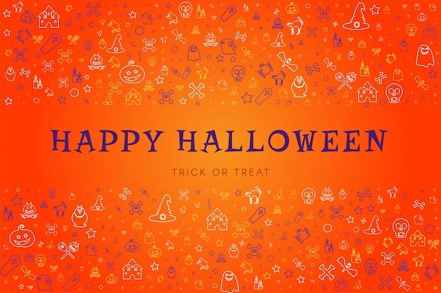 Happy halloween kartkę z życzeniami z ładnymi rysunkami. cukierek albo psikus plakat do dekoracji świątecznej lub tła strony internetowej. doodle ilustracja wektorowa