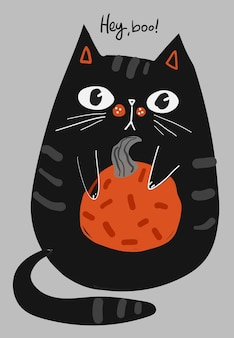 Happy halloween kartkę z życzeniami z postacią czarnego kota i dynią, ilustracje wektorowe