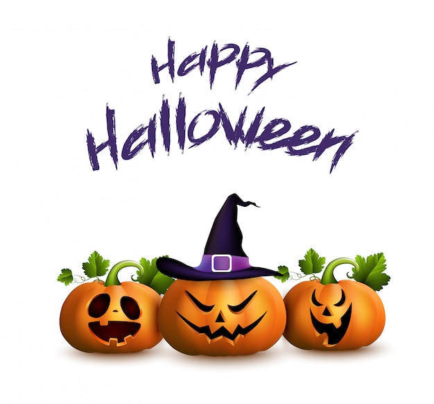 Happy halloween kartkę z życzeniami z zestawu kreskówek rzeźbione dynie