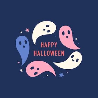 Happy halloween karty słodkie i zabawne duchy ilustracji wektorowych