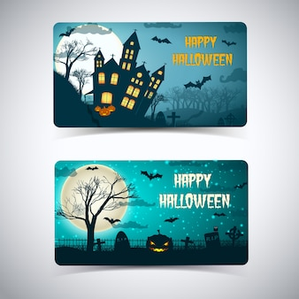 Happy halloween karty z ogromnym księżycem nawiedzony dom cmentarz latające nietoperze na nocnym niebie na białym tle