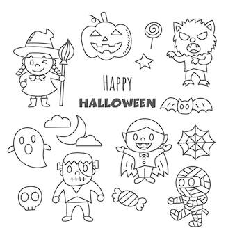 Happy halloween kawaii doodle styl rysowania ręcznego