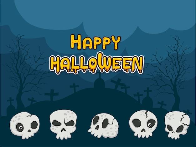 Happy halloween kolekcja czaszek na tle. koncepcja kreskówka czaszki w różnych. zestaw elementów halloween. ilustracja wektorowa clipart
