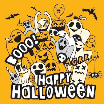 Happy halloween kontur konturu doodle. papierowy tło, wektorowa ilustracja
