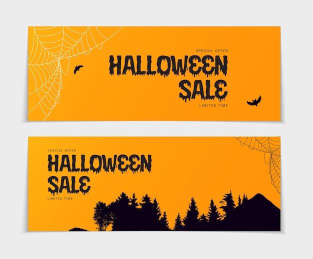 Happy halloween kup teraz plakat szablon na pomarańczowym tle z nietoperzem i pająkiem