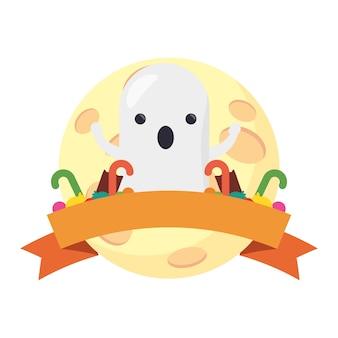 Happy halloween ładny duch z ramą wstążki.