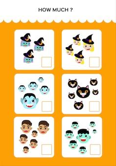 Happy halloween math game dla dzieci z potworami. praktyka matematyczna. gra edukacyjna dla dzieci. ile i ile. wektor