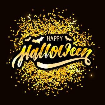 Happy halloween napis kaligrafia szczotka tekst wakacje naklejki