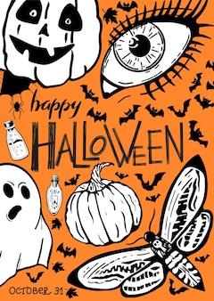 Happy halloween napis vintage plakat z ręcznie rysunkami halloween na pomarańczowym tle plakatu background