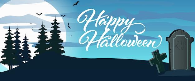 Happy halloween napis z cmentarzem, księżyc i las