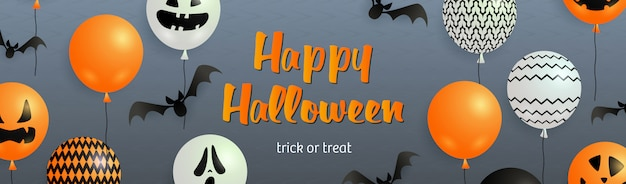 Happy halloween napis z nietoperzy i balonów duchów