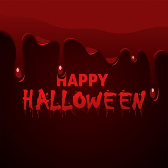 Happy halloween napis z ociekającą gęstą krwią