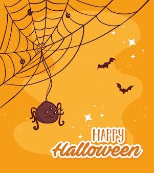 Happy halloween napis z pająkiem i nietoperzami latającymi wektor ilustracja projekt
