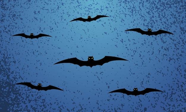 Happy halloween niebieskie tło uroczysty z latających nietoperzy. ilustracja wektorowa.