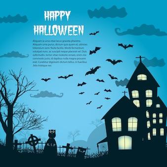Happy halloween night plakat z sylwetką zamku w pobliżu cmentarza i płaskich latających nietoperzy