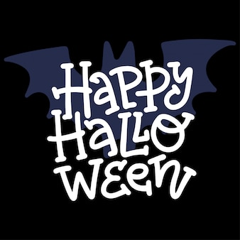 Happy halloween nowoczesny doodle kaligrafii. halloweenowy baner z napisem.