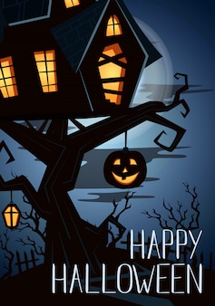 Happy halloween party banner z upiornym zamkiem