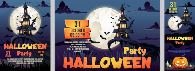 Happy halloween party flyers ustaw szablon zaproszenia na imprezę klubową z miejscem na datę