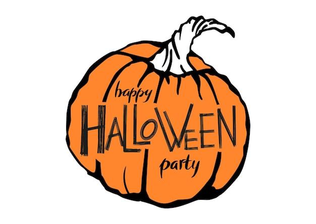 Happy halloween party napis na pomarańczowej ręcznie rysowanej dyni na białym tle