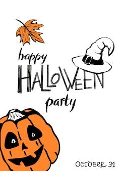 Happy halloween party napis z ręcznie rysowaną dynią, kapeluszem i plakatem z pomarańczowym liściem