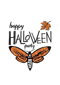 Happy halloween party napis z ręcznie rysowaną pomarańczową ćmą z czaszką i pomarańczowym liściem